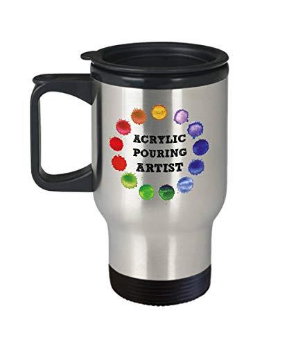 r Künstler Reise Becher Fluid Art Maler Geschenk Fluid Malerei Künstler Gießen Malerei Hobby Kunst und Handwerk Rainbow Coffee 400 ml ()