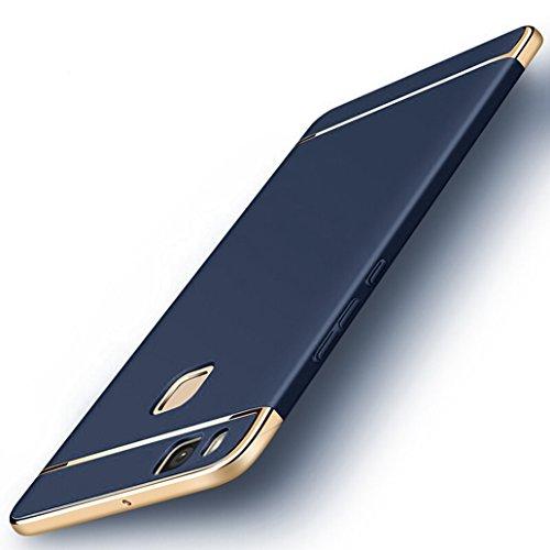 Custodia Huawei P9 Lite, Yoowei Cover Huawei P9 Lite 3 in 1 Alta Qualità Ultra Sottile Piena Protezione PC Shell Duro Retro Custodia per Huawei P9 Lite 5.2, Nero Silky Blue