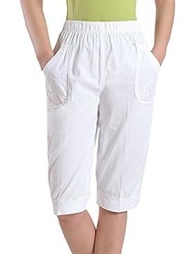 Hibote Pantalones Capri para Mujer Pantalones Baggy para Novio Pantalones Vaqueros Pantalones Capri Color Sólido...