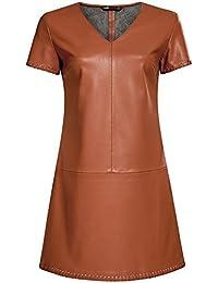 oodji Ultra Femme Robe en Similicuir à Manches Courtes