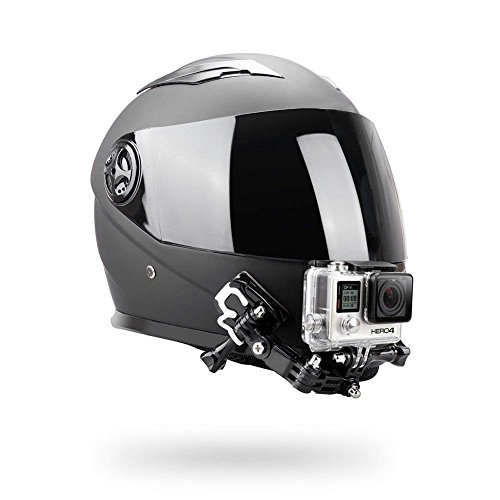 O RLY Casco Chin Mount Helmet Mount Kit/Casco Anteriore Lato Piatto Girevole Mount/Curvo Adesivo Supporti per GoPro Hero 3456Cam SJCAM/Apeman/campark-Occhiali/Akaso Action Camera Accesso