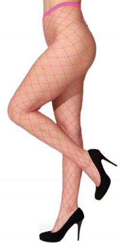 Netzstrumpfhose, großes Netz - Farben: weiß, türkis, rot, lila, neonpink, neongrün, neonorange (neonpink)
