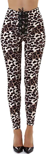 Jela London Damen Leoparden Leggings Kunst-Leder Hose Wetlook Treggings Schnürung High-Waist Hoher Bund Clubwear, 36 38 (M) -