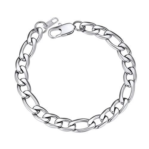 ChainsPro 361L Edelstahl Herren Armband Schlangen/Doppelseitige/Figaro Kette,Klassisch Edelstahl Armband, 6/9/13mm breit, 16/19/21cm lang, Schwarz/Silber/Gold (Gold Schlange-kette Armband)