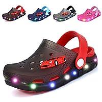 Nishiguang Childrens/Kids LED Clogs Flash Lighted Cute Garden Shoes Beach Sandals Summer Slip-On Breathable Slipper for Boys/Girls