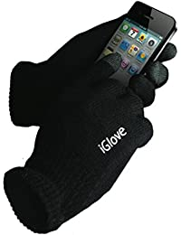 iGlove for iPhone, iPad, Samsung (Smartphones) & PDAs, Black Lightweight Gloves, Tech Touch with Coated Nylon Fibre Tips