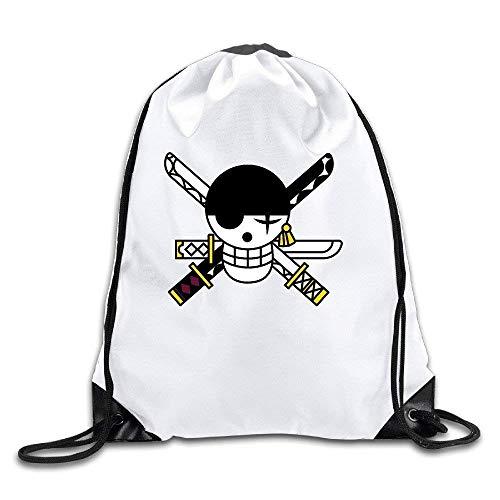 Zoro Flag Painted Skull Sword White Drawstring Backpack Sport Bag for Men & Women