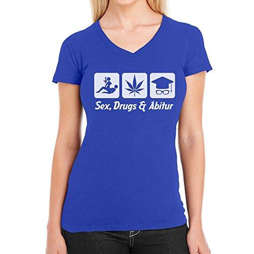 Sex, Drugs & Abitur - Das harte Leben als Student Damen T-Shirt V-Ausschnitt Blau