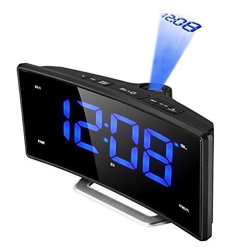 "Projektionswecker, (neuste Version) Pictek FM Radiowecker, 2"" Kurve LED-Display, 180° Flip-Projektionsanzeige, USB-Anschluss, FM-Radio, Dual-Alarm, Dimmbar, Snooze"