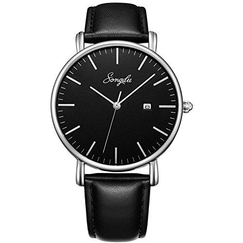 SONGDU Herren Ultra Dünne Elegant Analoge Quarz Armbanduhr Datum Quarzuhr und Klassisch Schwarz Leder (Schwarz)