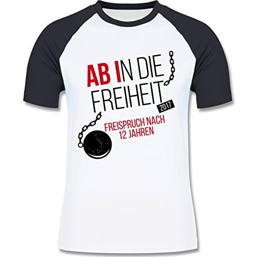 Abi & Abschluss - Abi 2017 Ab in die Freiheit - zweifarbiges Baseballshirt für Männer Weiß/Navy Blau