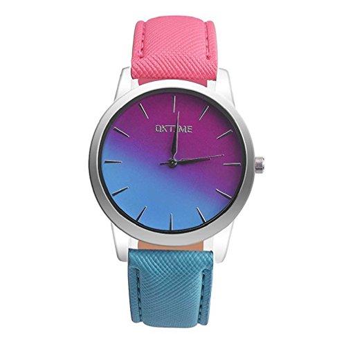 Fittingran Lover's Watch - Orologio da polso al quarzo con cinturino in pelle e cinturino in pelle con motivo a quadri (C)