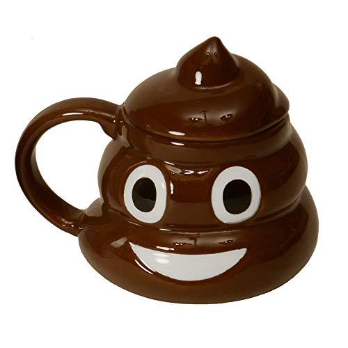 Poo Kackhaufen Kaffeebecher mit Deckel und lustiger Fratze - Scheisshaufen Kaffeetasse