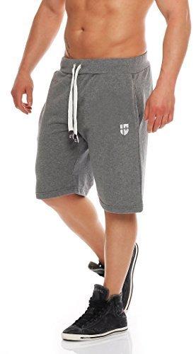 Gennadi Hoppe Herren Sweat Short Cotton Sweat Short Kurze Hose Bermuda Sweatpant Sport Shorts,grau,2XL