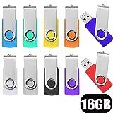 10 Pezzi Chiavetta USB 16GB - JUYUKEJI Girevole Pennina USB 16GB Portatile Pen Drive Chiave USB 2.0 PenDrive Unità Memoria Flash con Meccanismo Girevole per PC Macbook TV (16Giga Colorata)