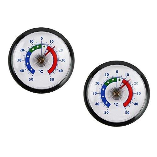 2 Stück Set Rundes Bimetall Analog Klebe Kühlschrankthermometer . Kühlschrank Thermometer Temperatur Anzeige + / - 50 °C . Farbe schwarz