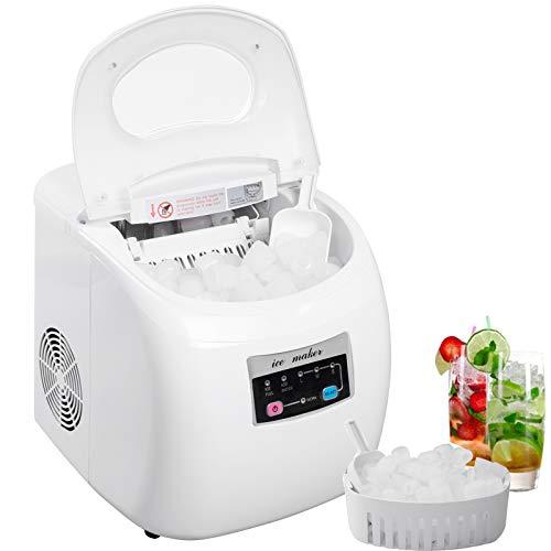 WOLTU EM03ws Eiswürfelmaschine Eismaschine Ice Maker Eiswürfelbereiter, 12kg 24h, 3 Eiswürfel-Größen, 2,8 Liter Wassertank, 120 W, ABS, grau