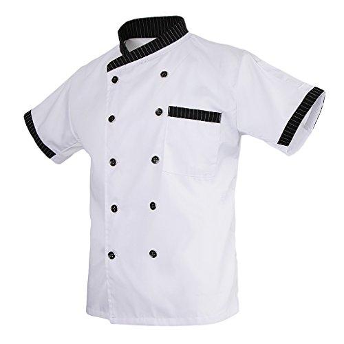 MagiDeal Damen Herren Kochjacke Bäckerjacke mit gestreiftem Stehkragen Kochkleidung Koch Küche Chef Gastronomie Berufsbekleidung - Weiß, L - 4