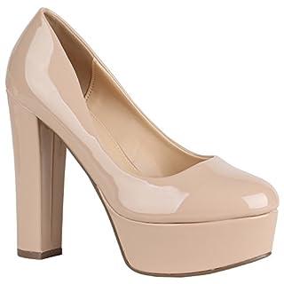 Damen Schuhe Plateau Pumps Lack Metallic Party High Heels 156827 Nude 38 Flandell