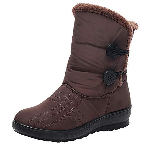 MYMYG Damen Schneestiefel Winter Wasserdichte Short Schneeschuhe Schuhe warme Schuhe Einzelne Schuhe Wildleder Warme Plüsch Gefüttert Winterstiefel
