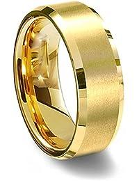Everstone joyas oro Anillo de titanio Compromiso de pareja anillos de mujer Hombre de los anillos