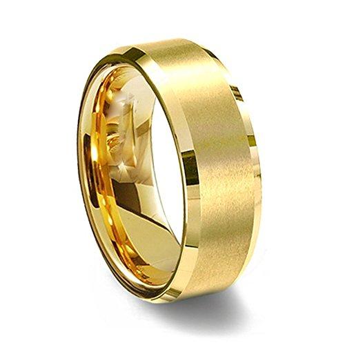 Gemini suo oro giallo, per un maggiore Comfort, con bordi smussati, Ttianium-Anello a fascia da (Oro Giallo Mens Wedding Band)