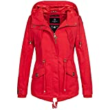 Marikoo Damen Jacke Parka Übergangsjacke leicht Mantel Kapuze Frühling Herbst Sommer ManoSun XS-XXL 7-Farben, Farbe:Rot, Größe:L / 40