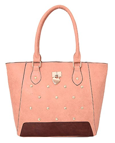 Kukubird Cecilia Ecopelle Metal Stud & Cuore Dettaglio Top-manico Tracolla Tote Handbag Pink