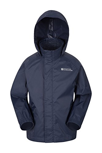 Mountain Warehouse Pakka Kids Waterproof Jacket – Hood, Packaway Bag, Compact, Lightweight and Breathable children's Rain Jacket- Ideal For Wet Weather & School Dark Blue 11-12 Years