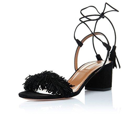 uBeauty, Damen Block Absatz Quasten Open Toe Sandalen, Bändchen Knöchelriemchen Übergröße Schuhe Schwarz Wildleder