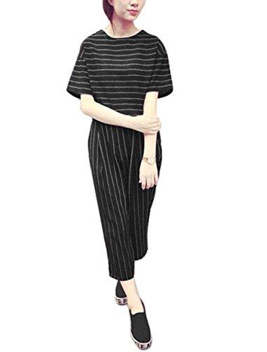 sourcingmap Damen Fledermaus Ärmel Ober mit Streifen abgeschnitten Hosen, Black/S (Pant Pocket Slant)