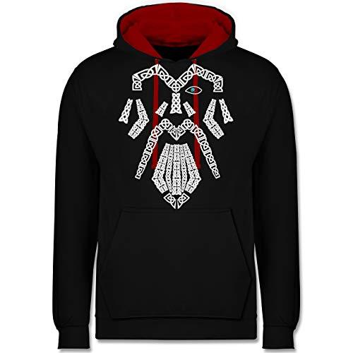 Shirtracer Nerds & Geeks - Wikinger Odin - 3XL - Schwarz/Rot - JH003 - Hoodie zweifarbig und Kapuzenpullover für Herren und Damen