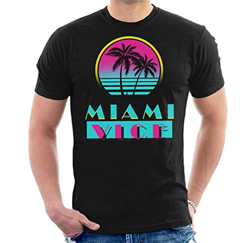 Miami Vice Logo and Palms Neon 80s T-shirt