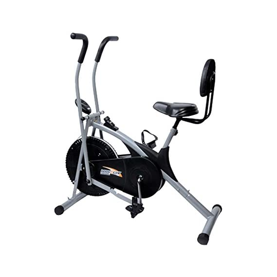 KS HEALTHCARE Stamina Lifeline Exercise Air Bike with Dual Action Back Support and Moving Handle for Cardio Fitness Cross fit Equipment (Siver)