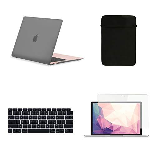TOP CASE - Hard Case, Tastaturabdeckung, Schutzhülle, Displayschutzfolie für das MacBook Air mit 13 Zoll Retina Display und Touch-ID Modell: A1932 - Grau (Top Case Macbook Air Case)