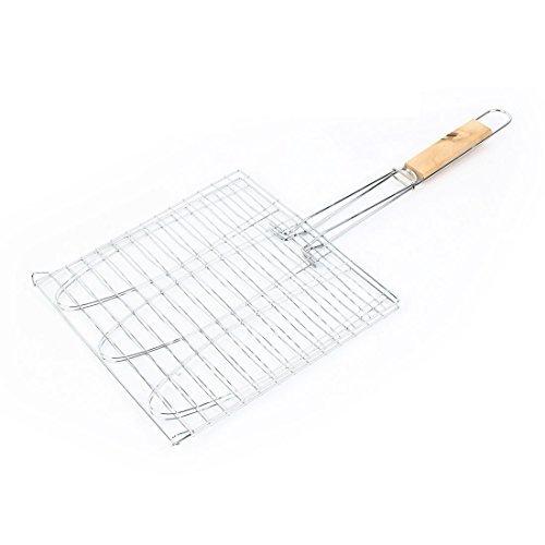 Picnic lockable handle metal fish grill net barbecue tool for Fish basket walmart