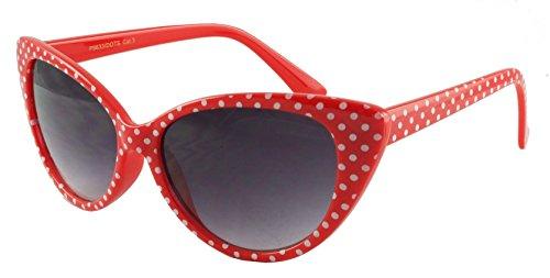 retroUV® - Tupfen Katzenauge Frauen Mod Mode Super Cat Sonnenbrille (Rot Weiß-Punkt mit retroUV® Beutel)