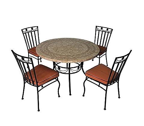 Salon de jardin 4 chaises + 1 table, ensemble de