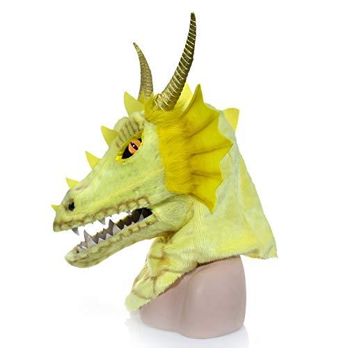 Family Kostüm Dragon - Viele Kostüm Kopf Maske Halloween-Vollgesichts-purpurroter Dragon Head Moving Mouth Animal Mask auf Halloween, Partei, Karneval for Erwachsenen (Color : Yellow)