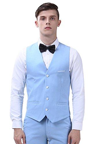 Herren Anzug Slim Fit 3 Teilig mit Weste Sakko Anzughose Business Smoking von Harrms,42-54, 9 Farben Hellblau