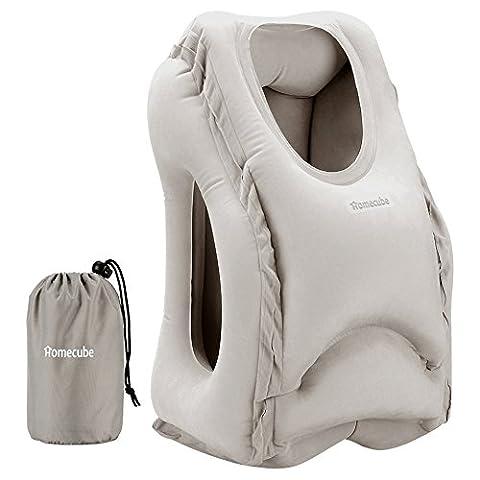 Oreiller de Voyage, Homecube Oreiller Gonflable Portable en Souple PVC et de Flocage pour Bureau/ les avions/ les trains (Gris)