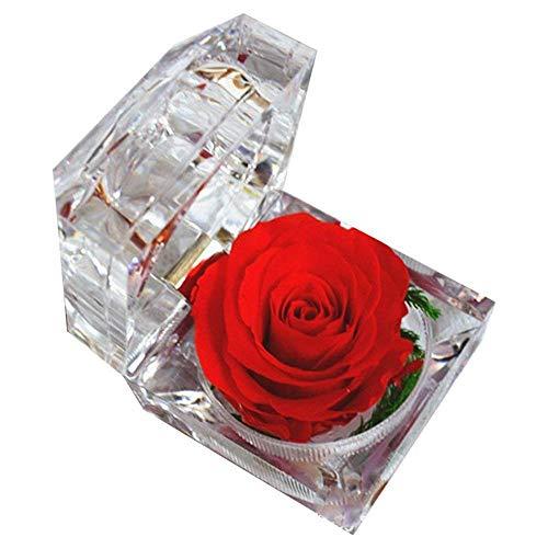 REFURBISHHOUSE Hand Gemachte Frische Rosen Und Acryl Kristall Ring Box Empfohlenes Verlobung (Rot) (Kristall-ring-box)