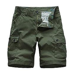 Xmiral Shorts Herren Reißverschluss Overall Streifen Kurze Hose Mit Taschen Sports Hose Training Shorts Fitness Beachshorts(Y Armee Grün,XXL)