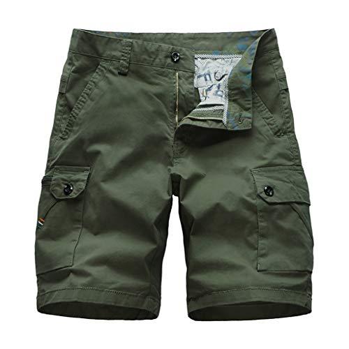 Xmiral Shorts Herren Reißverschluss Overall Streifen Kurze Hose Mit Taschen Sports Hose Training Shorts Fitness Beachshorts(Y Armee Grün,XL) -