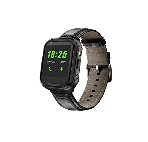 LJMR Intelligente Uhr,ML3 ältere 4G Smartphone Uhr Videoanruf präzise Positionierung Schrittzähler Blutdruck Herzfrequenz intelligente Überwachung,MOTOK Smartwatch-Black