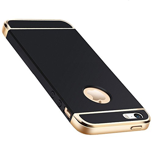 Joyroom Chrome 3 Piece Hybrid Protective Back Case Cover for Apple iPhone SE 5 5S - Black