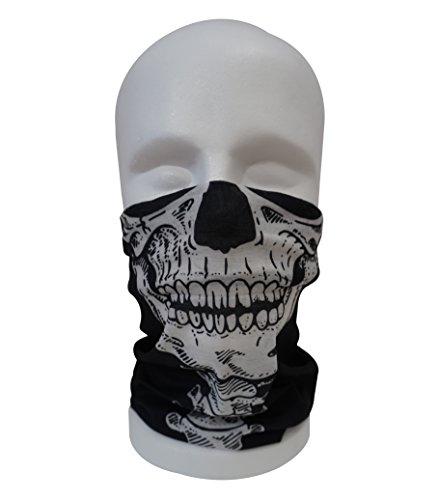 BandanaGuru Totenkopf Schädel Maske multifunktios Schlauchtuch Sturmmaske – für Paintball/Fahrrad/Ski Snowboard/Wandern/Biking/Rave Maske (Skull Face Head)