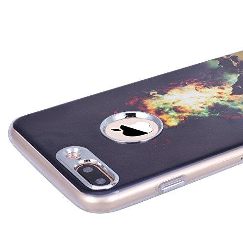 WE LOVE CASE Coque iPhone 7 Plus, Souple Gel Coque iPhone 7 Plus Silicone Motif Fine Coque Girly Resistante, Coque de Protection Bumper Officielle Coque Apple iPhone 7 Plus Noir Noir