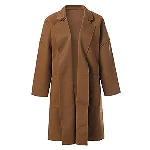 TianWlio Jacken Damen Winter Revers Wollmantel Trench Jacke Langarm Mantel Outwear Parka Mäntel Herbst Winter Warme Jacken Strickjacken Khaki Schwarz S/M/L/XL