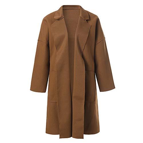i-uend 2019 Damen Mantel - Parka Outwear Cardigan Elegant Mantel Revers Solid Lange Trenchcoat Outerwear Warme Winterjacke